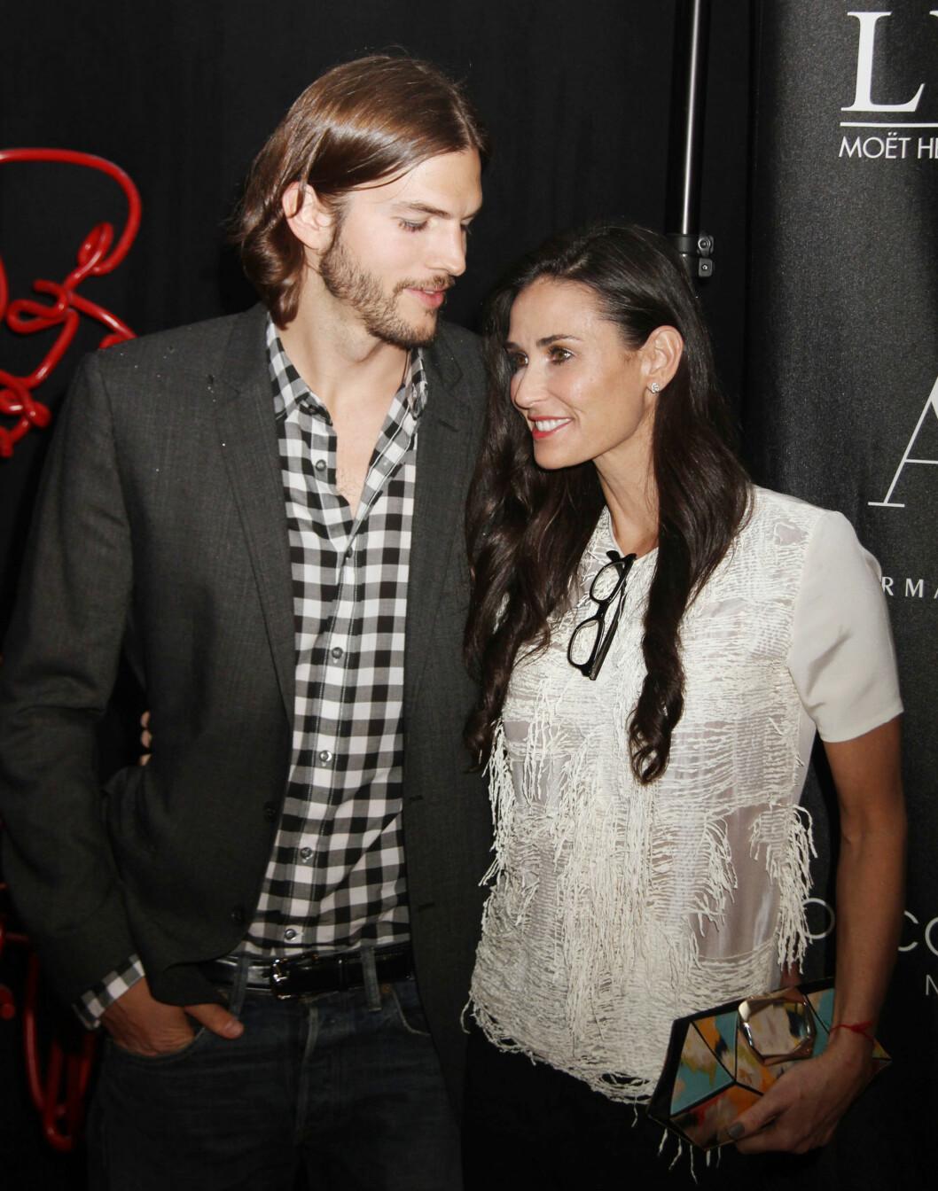 16 ÅRS FORSKJELL: Lykken brast for skuespillerparet Demi Moore (53) og Ashton Kutcher (37) i 2013. Da hadde de vært gift siden 2005. I dag er han lykkelig gift med sin tidligere TV-kollega Mila Kunis (32), som han har datteren Wyatt Isabelle (1) med. Foto: NTB Scanpix