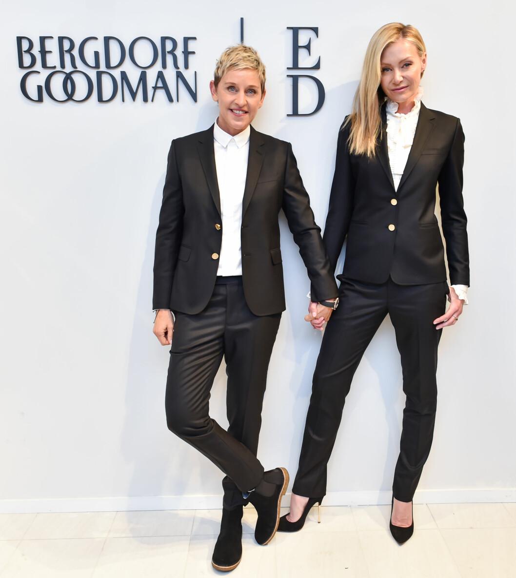 15 ÅRS FORSKJELL: Talkshow-vertinne Ellen DeGeneres (57) har vært gift med skuespiller Portia de Rossi (42) siden 2008. Foto: NTB Scanpix