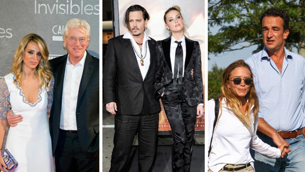 ALDERSFORSKJELL: Richard Gere (66) har funnet lykken med 32 år gamle Alejandra Silva. Det er 23 år som skiller skuespiller-ekteparet Johnny Depp (52) og Amber Heard (29). Denne uken giftet skuespiller Mary-Kate Olsen (29) seg med sin franske kjæreste Olivier Sarkozy (46). Foto: NTB Scanpix