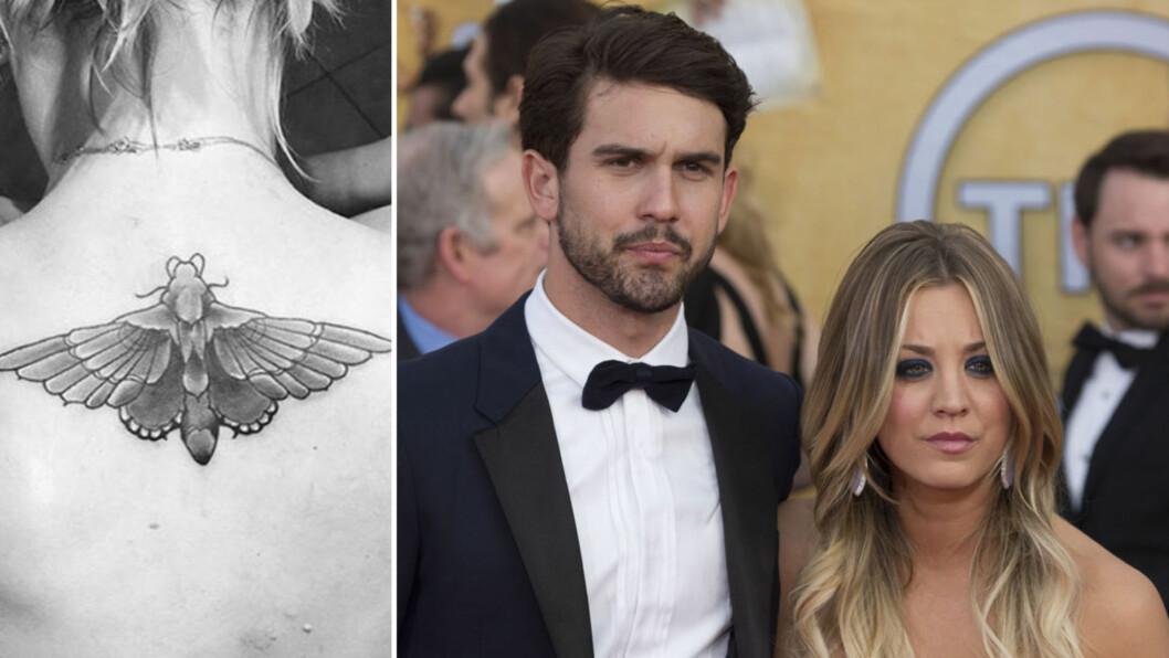 FJERNET TATOVERING: Etter at hun brøt med ektemannen Ryan, valgte skuespiller Kaley Cuoco å dekke tatoveringen av parets bryllupsdato. Resulatet ser du til venstre på bildet over. Foto: Scanpix