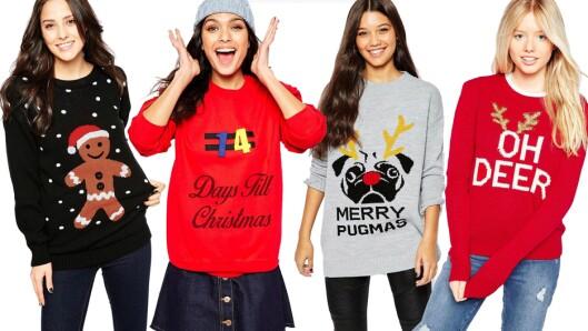 JULEGENSEREN: Her er plagget vi skal gå med fra og med 1. desember. Priser på alle genserne finner du i bildehjulet nederst i saken. Foto: Asos.com