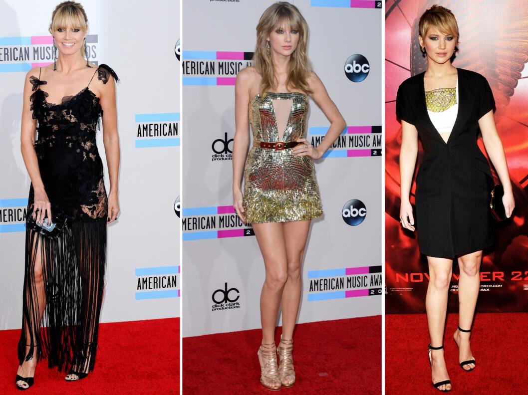 GJØR SOM STJERNENE - DROPP STRØMPER: Fra venstre Heidi Klum, Taylor Swift og Jennifer Lawrence.  Foto: All Over Press