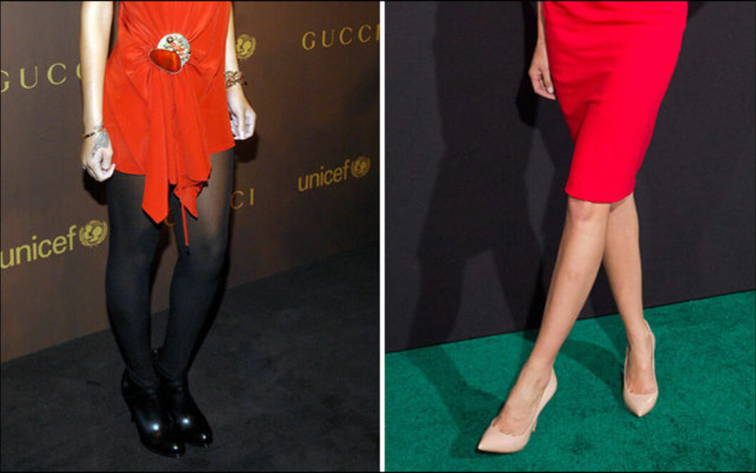 RØD KJOLE: Røde kjoler er finest md helt svarte strømper, eller bare bein. Men du kan også gå for en strømpe i en lett matchende rødfarge for en helhetlig look.  Foto: All Over Press