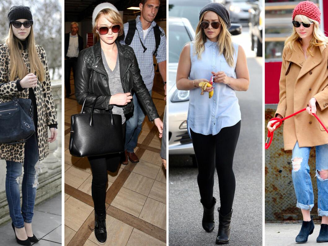 I SORT, GRÅTT OG KORALL: Jennifer Lawrence, Hillary Duff og Emma Stone. Foto: All Over Press