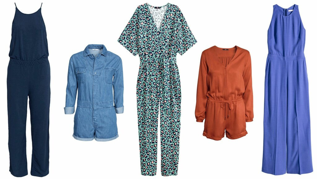 TRENDPLAGG: (f.v.) Jumpsuit fra Vila via Nelly.com, kr 279. Jumpsuit fra Only via Nelly.com, kr 459. Jumpsuit fra H&M, kr 349. Jumpsuit fra H&M, kr 249. Jumpsuit fra H&M, kr 499. Foto: Produsenten, Nelly.com