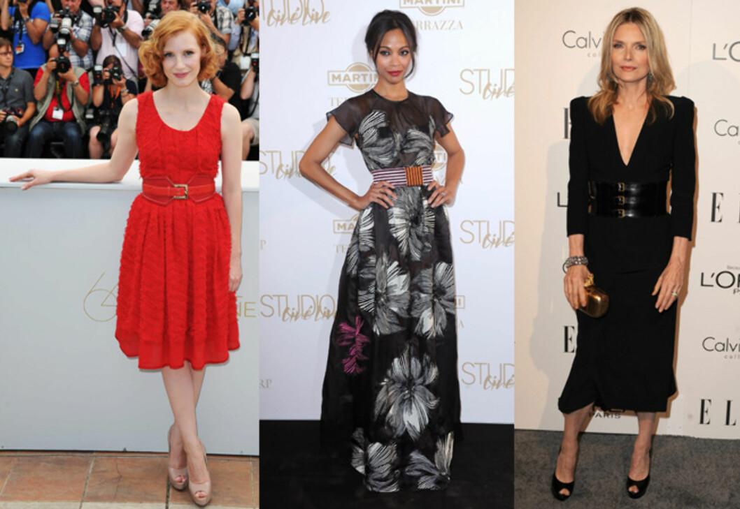 SMYKKER LIVET: (F.v) Jessica Chastina, Zoe Saldana og Michelle Pfeiffer liker de brede beltene.  Foto: All Over Press