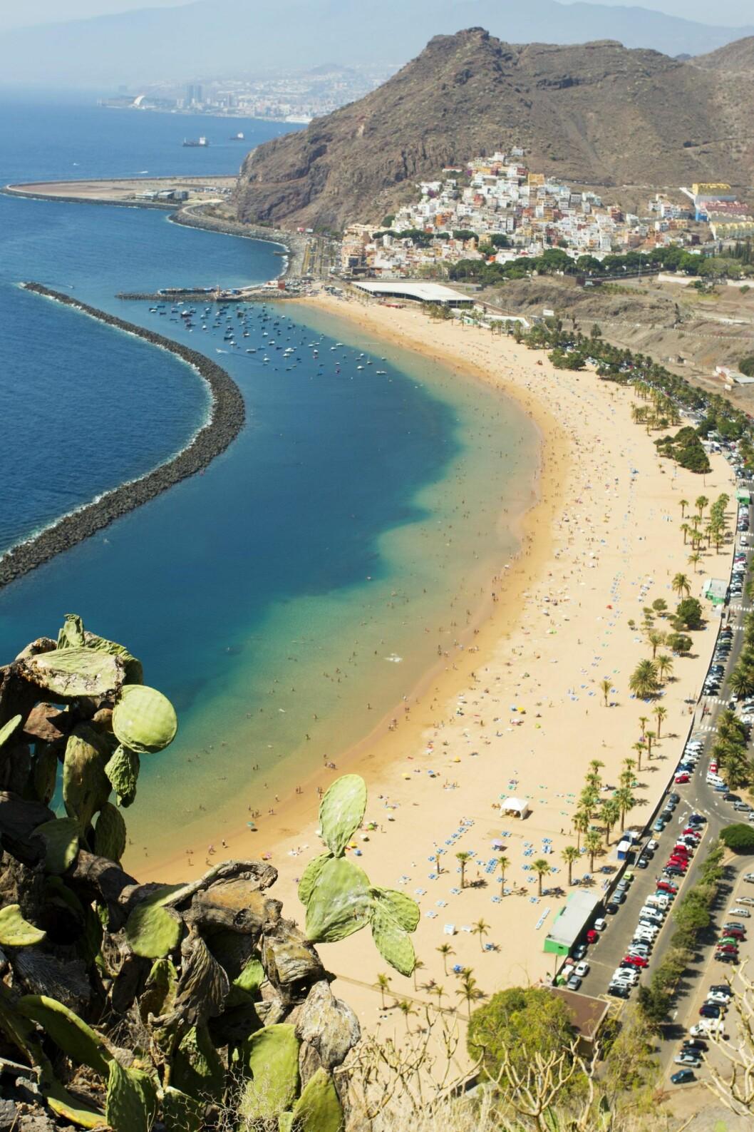 PERFEKT BYSTRAND: Riktignok ligger Las Teresitas-stranden litt utenfor Tenerifes hovedstad Santa Cruz, men det tar bare ti minutter hit med buss eller taxi. Foto: Oddvar Walle Jensen