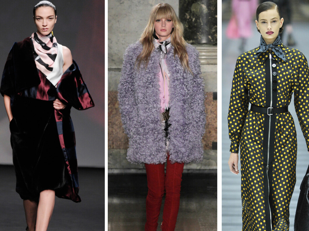 HØSTENS MEST TRENDY SKJERFKNUTE: Flommende og løst hos Christian Dior, og stramt og dekadent på catwalken til Emilio Pucci og Miu Miu. Foto: All Over Press