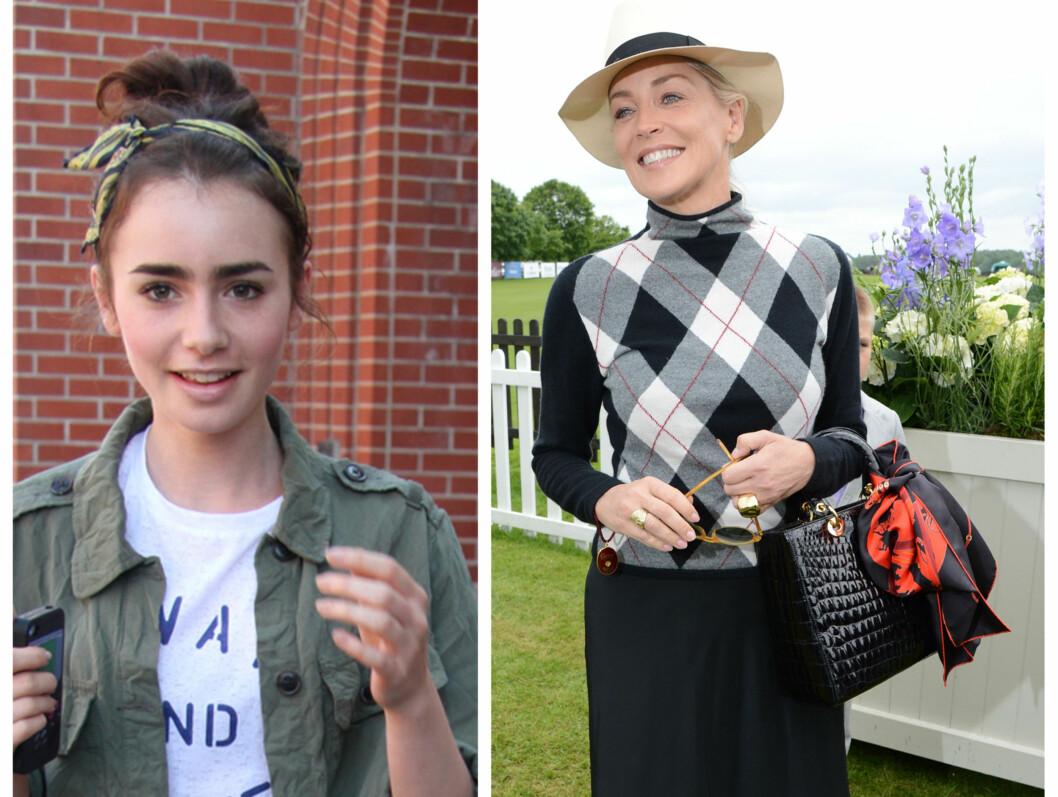 """I HÅRET OG PÅ VESKEN: Gjør som skuespillerinnene Lily Collins og Sharon Stone og bruk silkeskjerfet i håret eller på vesken for en litt ny """"vri"""".  Foto: All Over Press"""