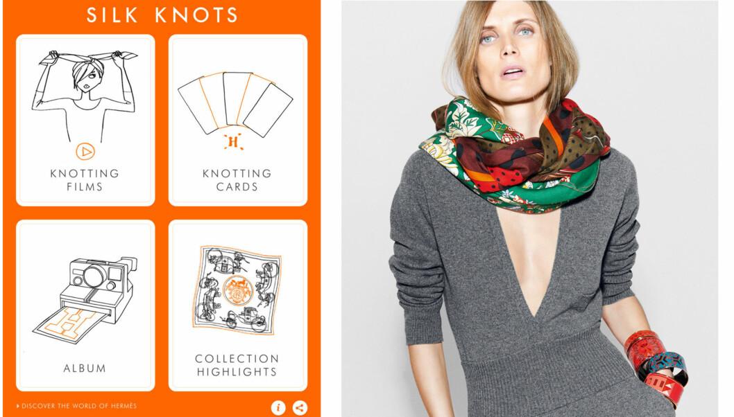APPEN SOM LÆRER DEG Å KNYTE SKJERF: Det luksuriøse motehuset Hermès har lansert en app som gir deg ulike måter å style skjerfet - Hermès Silk Knots-appen er enkel å bruke og gir deg mange gode ideer.