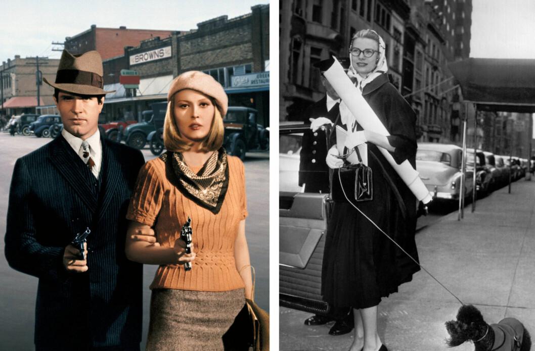 SKJERFENE VI ALDRI GLEMMER: Vi elsker silkeskjerfet til Faye Dunaway i filmen Bonnie and Clyde fra 1967, og måten ikoniske Grace Kelly knøt det rundt hodet i New York City i 1956. Foto: All Over Press