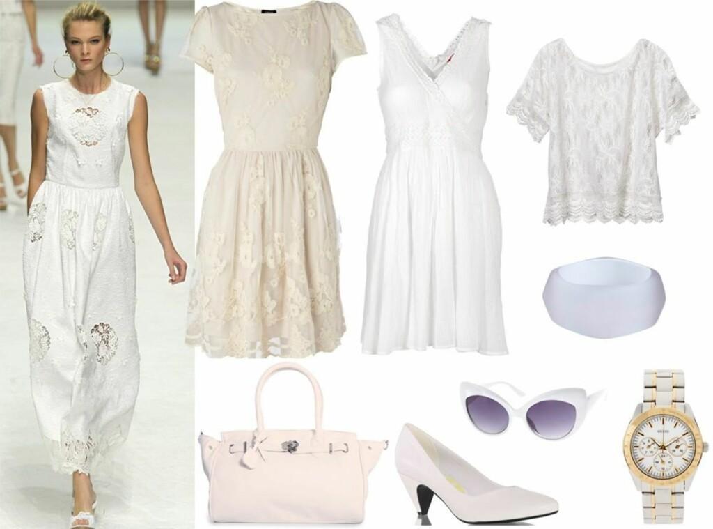 a98cf2c4 HELHVIT LOOK: Catwalken til Dolce & Gabbana flommer over av hvite  blondekjoler, sandaler og