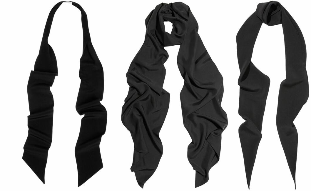 DESIGNERNE KALLER DET FOR SMOKINGSKJERF: Både Saint Lauren og Lanvin har tynne silkeskjerf å by på til rundt 1600 kroner, men du kan fint bruke et slips eller finne noen rimelige vintagevarianter. Foto: Net-a-Porter