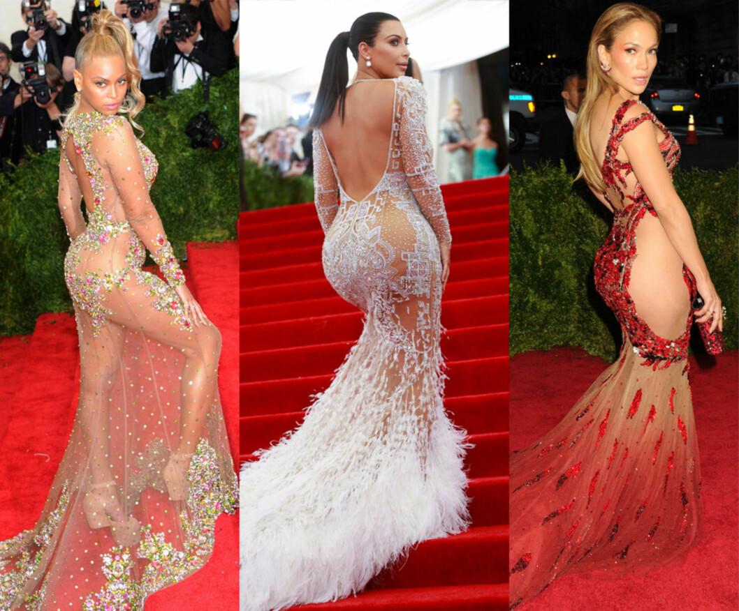 SEXY TRIO: Ingen kan si at Beyoncé, Kim Kardashian og Jennifer Lopez ikke kaster ekstra mye glans over den røde Hollywood-løperen. Nå følger de norske kjendiskvinnene etter.  Foto: NTB Scanpix