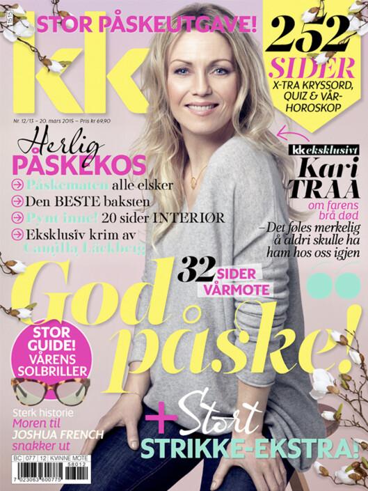 <strong>KARI TRAA:</strong> pryder coveret på KKs store påskenummer, i salg fra 20. mars. Foto: All Over Press Norway/Ida Bjørvik
