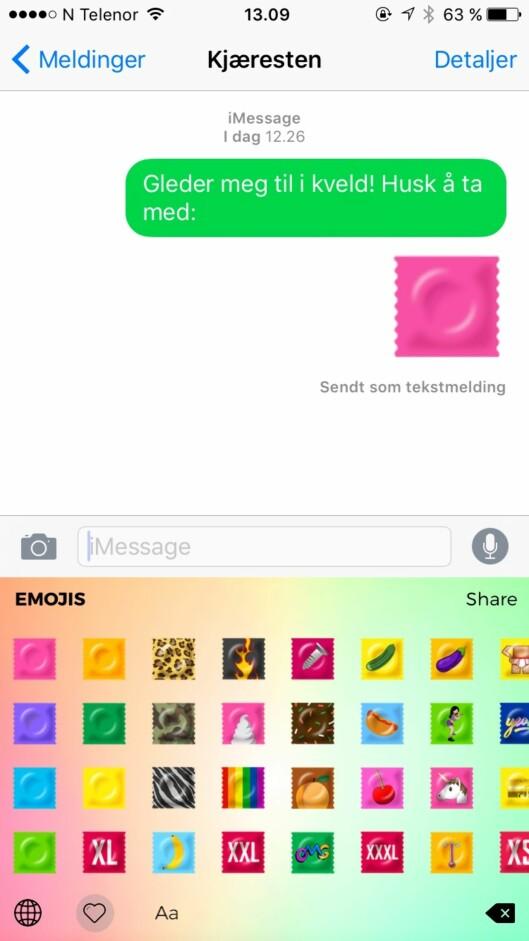 SIKKER SEX: Disse nye «kondom-emojiene» skal gjøre det enklere for unge mennesker å snakke om sikker sex. Foto: Skjermdump