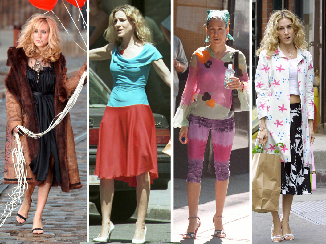 """<strong>PÅ TV:</strong> Sarah Jessica Parker ble verdensstjerne takket være rollen som Carrie Bradshaw i """"Sex- og singelliv"""". Her i noen av antrekkene fra serien.  Foto: All Over Press"""