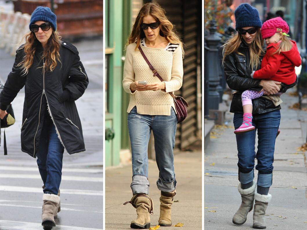 AVSLAPPET: Til hverdags er Sarah Jessica - som er trebarnsmor, svært avslappet, og elsker store, behagelige tøfler, jakker og luer.  Foto: All Over Press