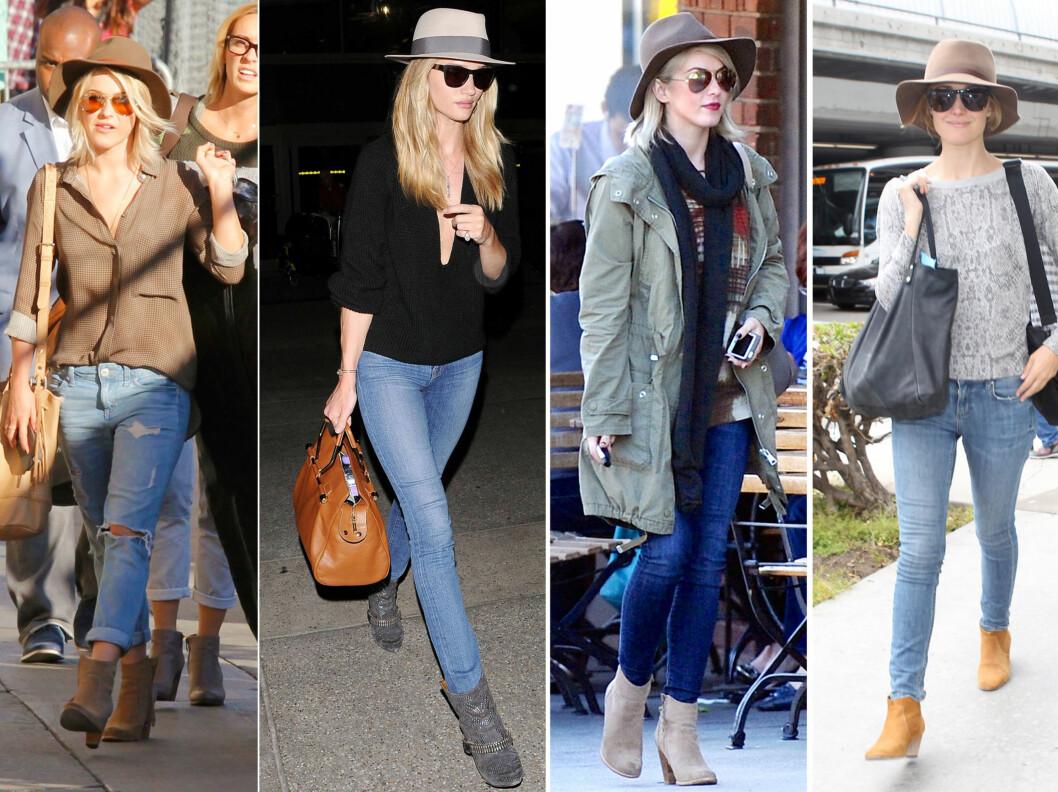 GIR DEG STIL OG KARAKTER: Selv om ikke alle elsker den - hatten er et udødelig tilbehør som fortjener en plass i enhver garderobe. De bredbremmede modellene er ekstra populære nå. Og stjernene er spesielt begeistret for beige og brune varianter, som vi ser her på Julianne Hough, Rosie Huntington-Whitley og Rose Byrne. Foto: All Over Press