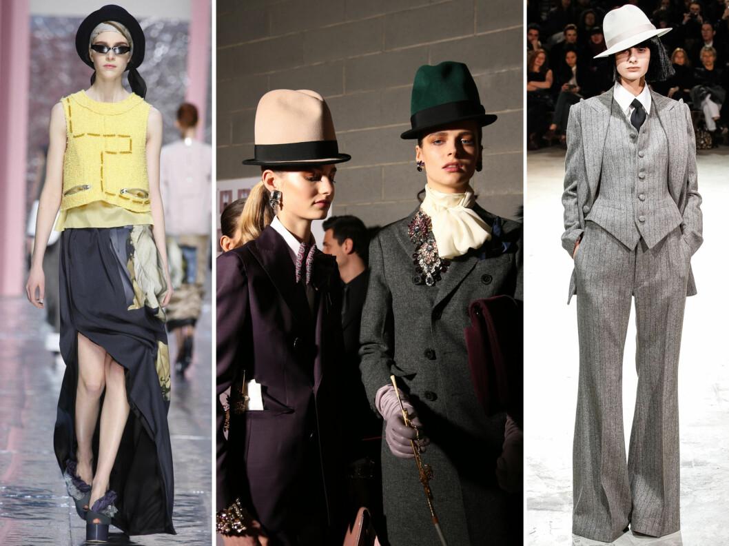 HATTEFINT PÅ CATWALKEN: Fra venstre med tørkle og hatt hos Acne, hattehøyt hos Dsquared og herreinspirert stil signert Yohji Yamamoto.