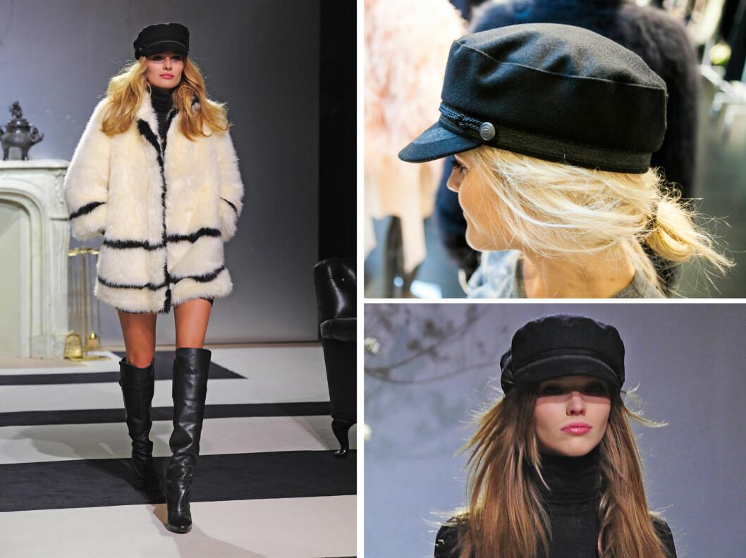 KAPTEIN/SEILERHATTEN: Gjør også comeback denne sesongen. Her ser du modellene fra visningen i Paris - samt KKs utsendte som meget fornøyd prøver på den kule hatten på bildet øverst til venstre.  Foto: All Over Press/Per Ervland