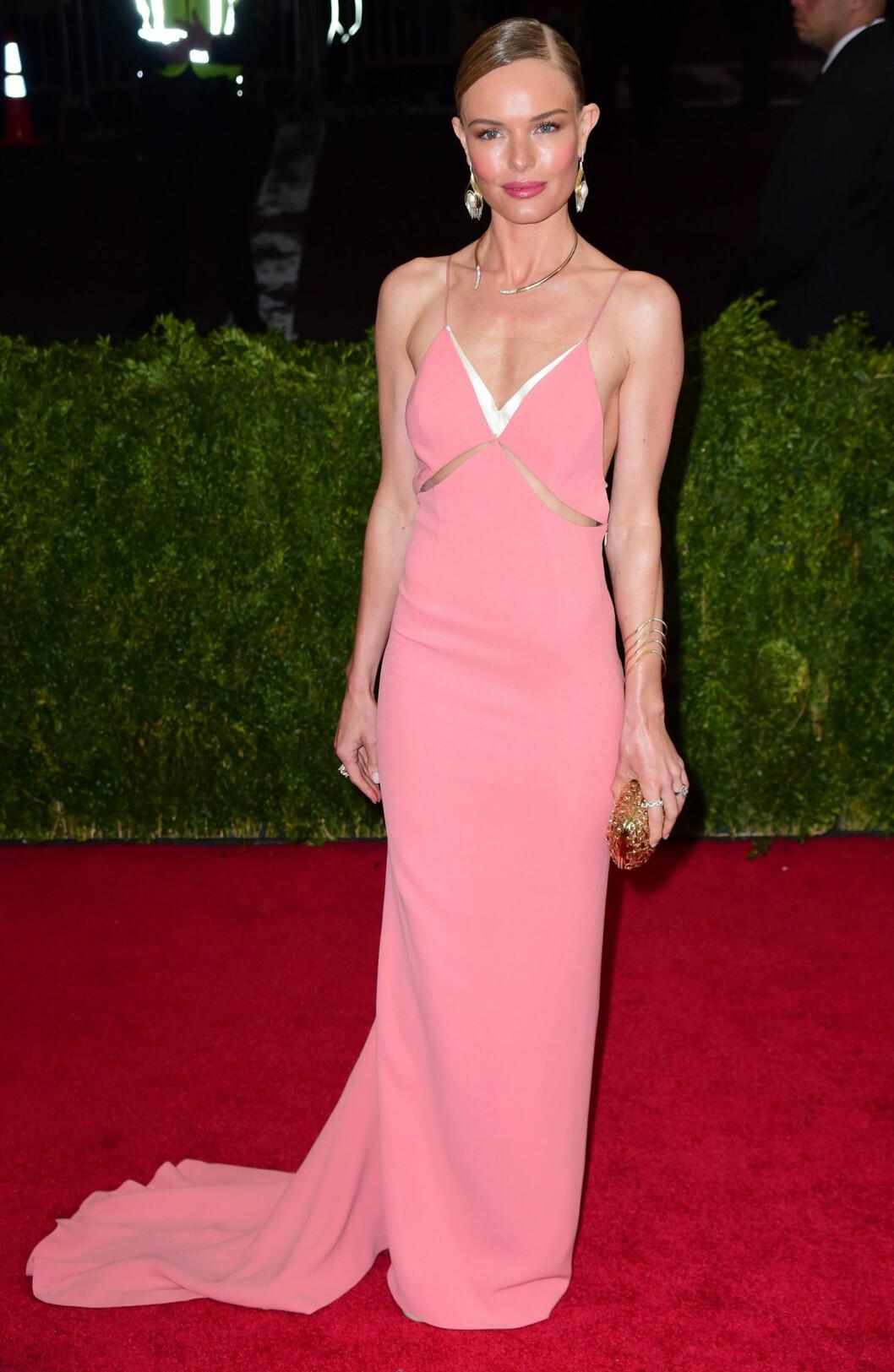 ROSA LYKKE: Aaaah, vi elsker rosa, og skuespiller Kate Bosworth glødet i denne lekre kjolen på 'Charles James: Beyond Fashion-festen på The Metropolitan Museum of Art i New York. Foto: Gregorio T. Binuya/Everett Colle