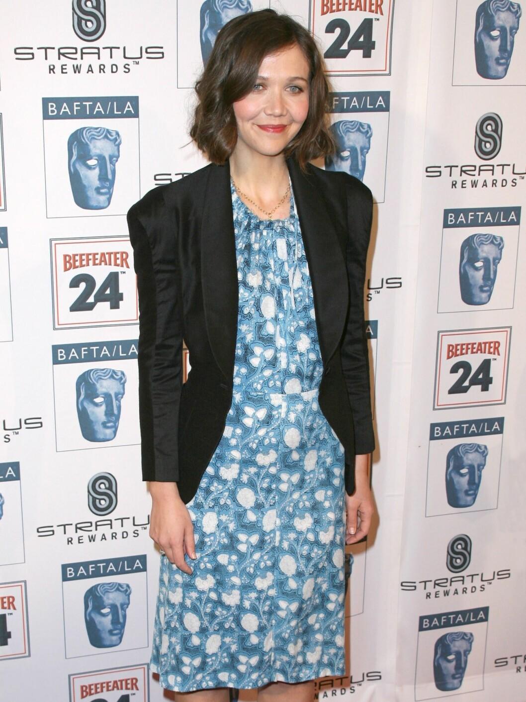 I blomstrete kjole og blazer på BAFTA-utdelingen. Foto: All Over Press