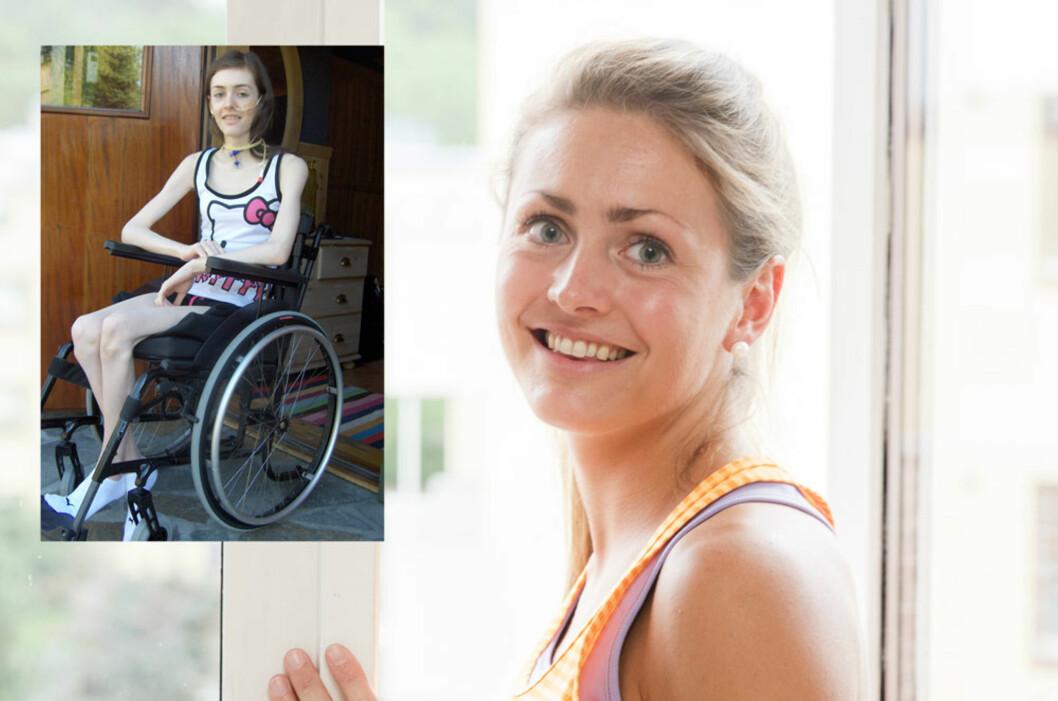 ME: Hanne var underernært, veide 28 kilo og fikk mat gjennom sonde. I dag jobber Hanne som sykepleier og trener nå fem gangen i uken. Foto: Berit Roald/NTB Scanpix og privat