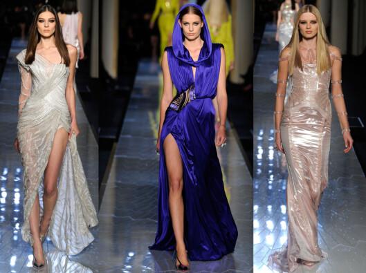 VERSACE: Blanke materialer og høye splitter kjennetegner Versaces couture-kolleksjon. Foto: All Over Press