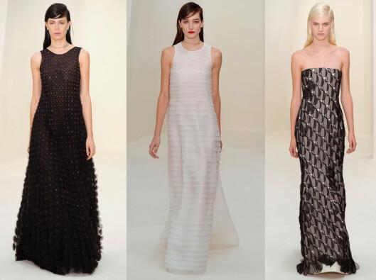 DIOR: Motehuset gikk for enkle kjoler med feminine detaljer. Foto: All Over Press