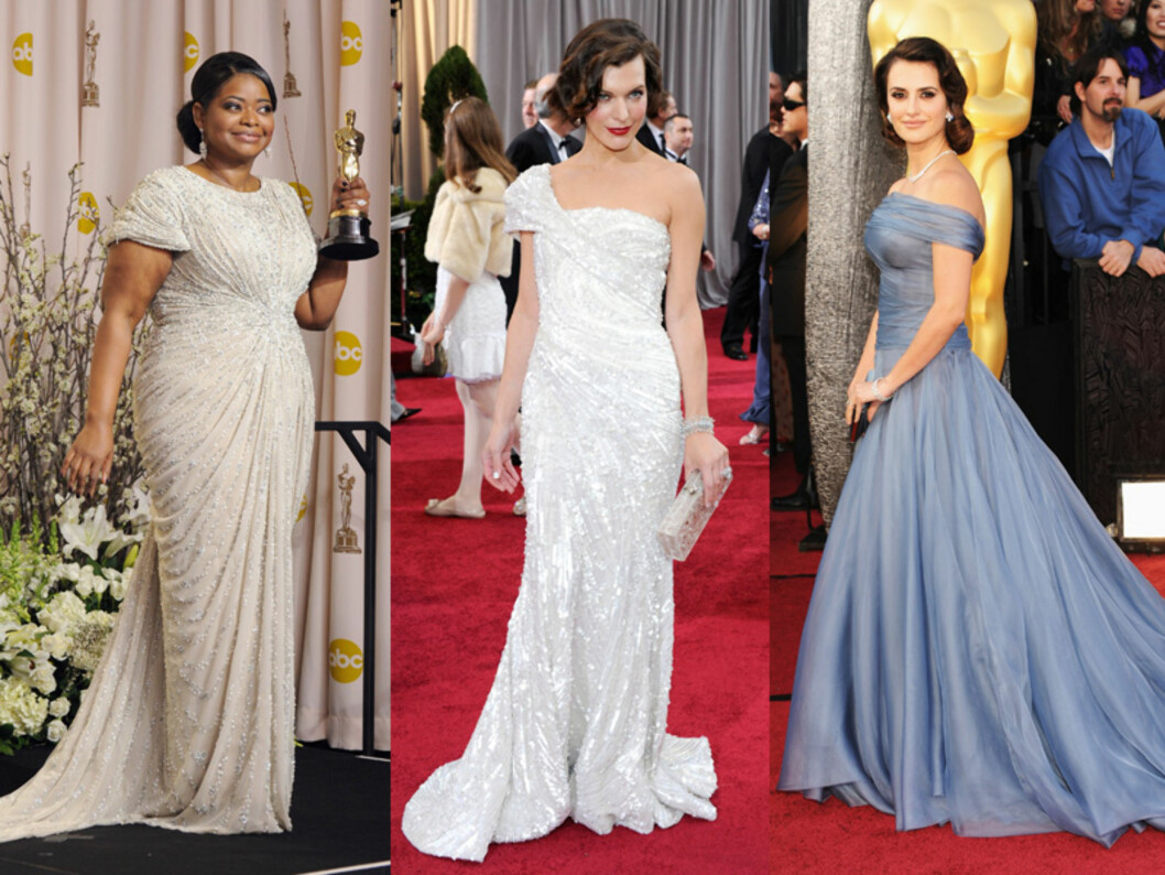 <strong>«OLD HOLLYWOOD-GLAM»:</strong> Fra venstre: Octavia Spencer, Milla Jovovich og Penelope Cruz får alle applaus for sine klassiske, glamorøse kjoler. Foto: All Over Press