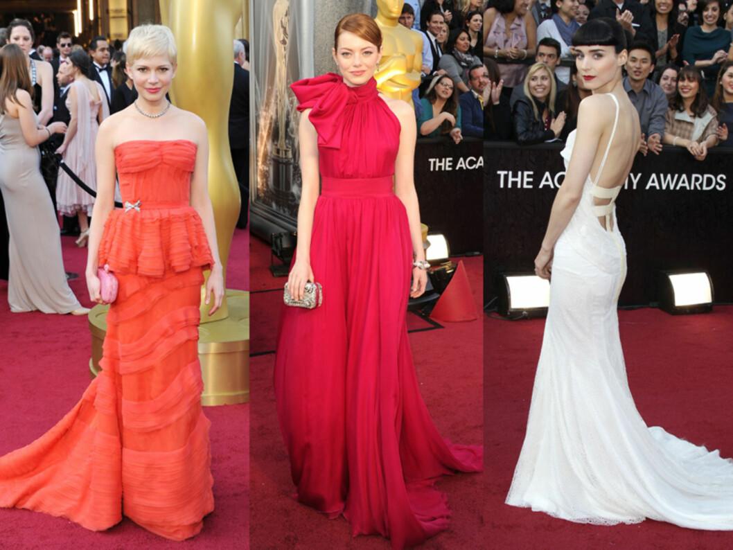 <strong>VÅGER MER:</strong> Fra venstre: Michelle Williams, Emma Stone og Rooney Mara. Foto: All Over Press
