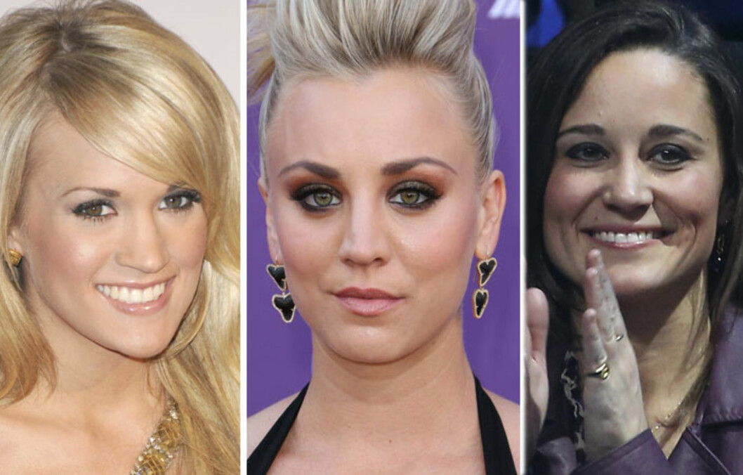 <strong>TVILSOM FORM:</strong> Carrie Underwood, Kaley Cuoco og Pippa Middleton må tåle kritikk for sine rumpetrollaktige øyebryn.  Foto: All Over Press