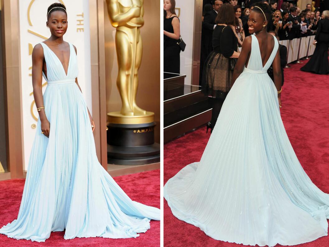 LUPITA NYONG'O: I babyblå kjole fra Prada. Foto: All Over Press