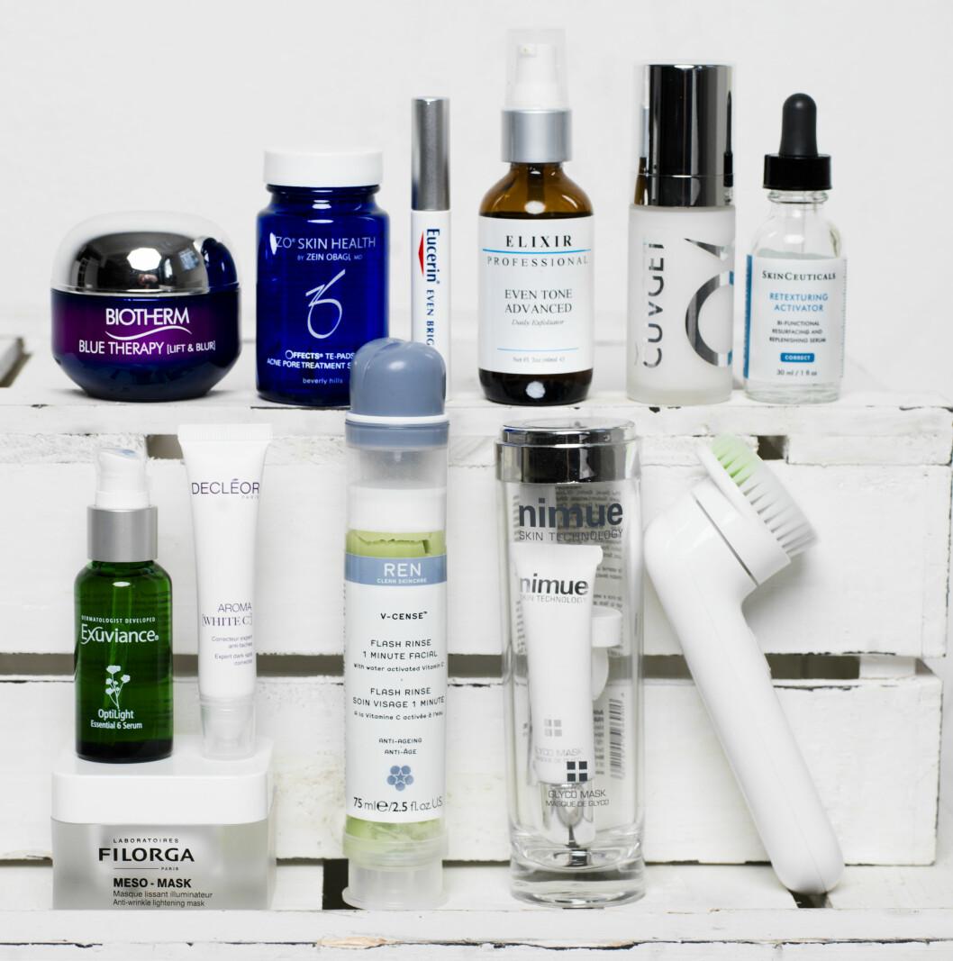 1. Gir løft og glød (kr 600, Biotherm, Blue Therapy).  2. Eksfolierende ekstrakt (kr 550, Obagi, Zo Skin Health, Te Pads Acne Pore Treatment).  3. Brukes direkte på pigmentflekker (kr 190, Eucerin, Even Brighter Spot Corrector).  4. Reduserer pigmentering (kr 890, Elixir Professional, Even Tone Advanced).5. Norsk serum som reduserer linjer (kr 1495, Cuvget).  6. Gir glød med blant annet glycolsyre (kr 850, Skinceuticals, Retexturizing Activator). 7. Inneholder 11 potente blekemidler mot pigmentering (kr 600, Exuviance, Optilight Serum).  8. Lysner huden (kr 390, Decléor, Aroma White C, Expert Dark Spot Corrector). 9. Gir glød med vitamin C (kr 395, Filorga, Meso Mask). 10. Glød på ett minutt (kr 300, Ren, Flash Rinse, 1 minute Facial). 12. Eksfolierende maske som gir maks glød (kr 390, Nimue, Glyco Mask). 13. Skånsom rensebørste (kr 925, Clinique, Sonic System Purifying Cleansing Brush).   Foto: Ole Martin Halvorsen