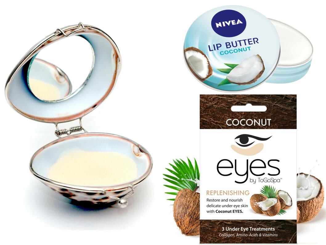 Leppebalm med blant annet kokos og macedemia (kr 180, Shell Lip Balm/greenspirit.no). Med sheasmør og mandelolje (kr 40, Nivea, Lip Butter Coconut). Lindrende øyemaske med kollagen, vitamin A og E (kr 150, To Go Spa, Eye Coconut). Foto: Produsentene