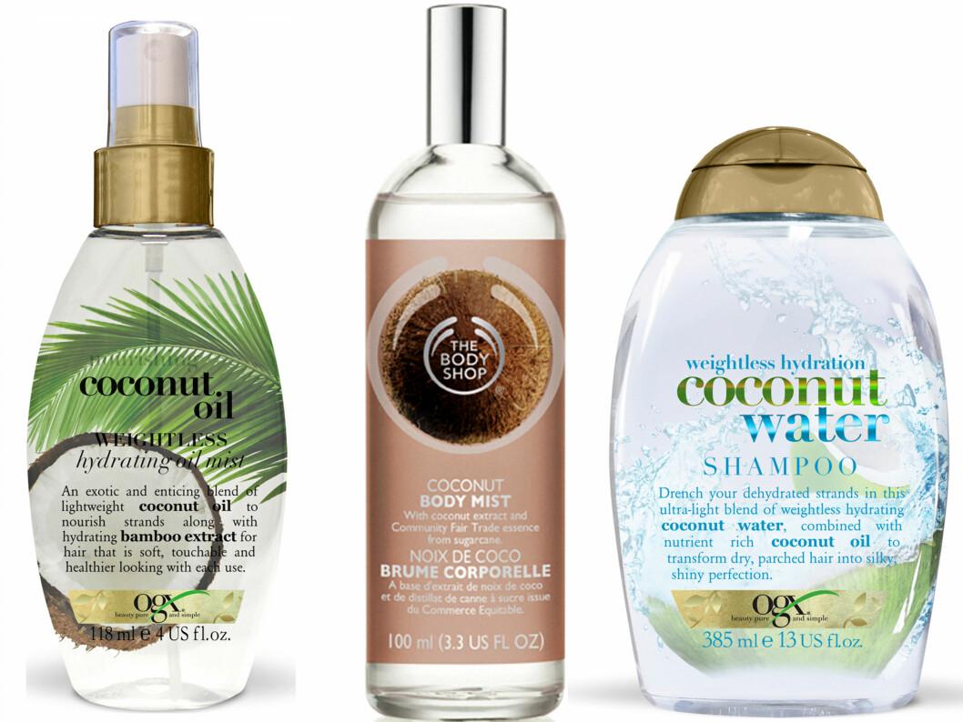 Fuktspray for håret med kokos og bambus (kr 130, Ogx, Coconut Oil Hydrating Mist). Kroppsduft med fuktighetsgivende kokosekstrakt (kr 150, The Body Shop). Sjampo for tørt hår (kr 130, Ogx, Coconut Water Shampoo). Foto: Produsentene