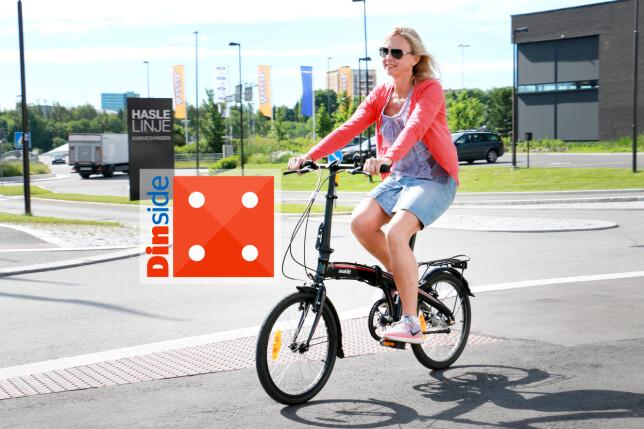 """ASAKLITT 20"""" SAMMENLEGGBAR SYKKEL: Clas Ohlson-sykkelen er en av de enkleste å brette sammen, og den er god å sykle på. Her er det ingen overraskelser: Den gjør jobben som sammenleggbar sykkel! Foto: Ole Petter Baugerød Stokke"""