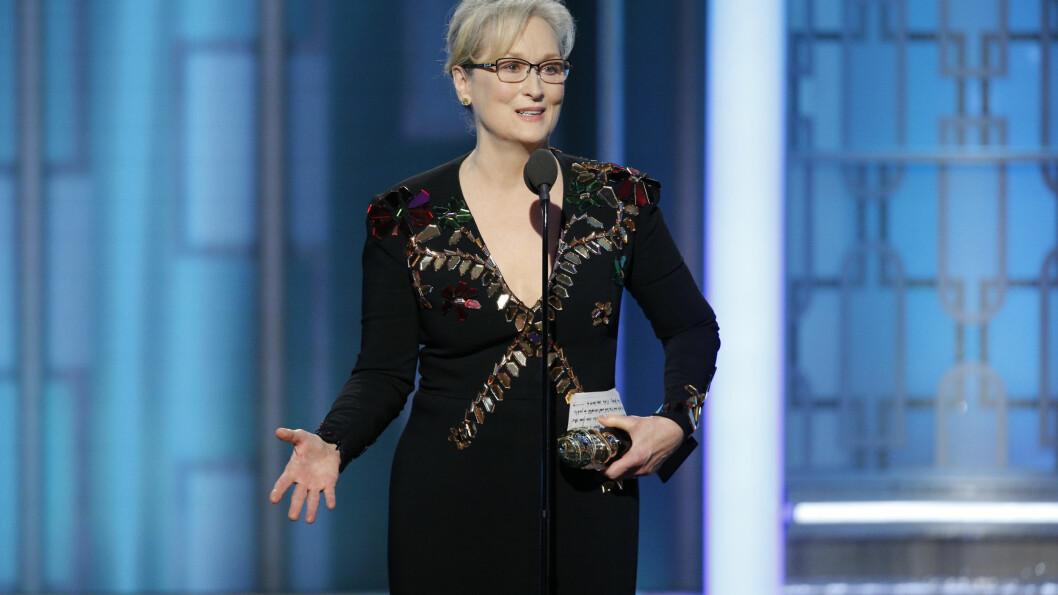 GOLDEN GLOBES: Meryl Streep brukte takketalen sin til å snakke om Donald Trump. Foto: AP