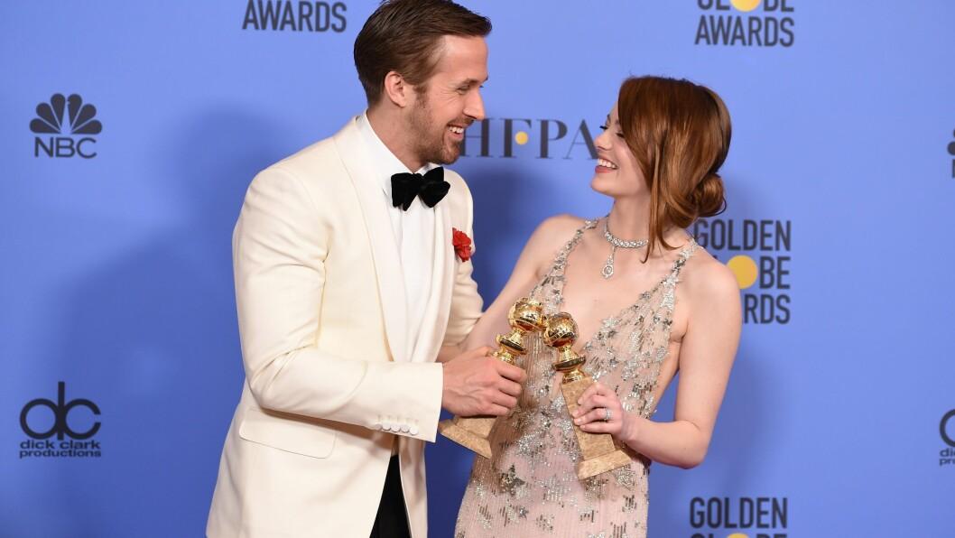 GOLDEN GLOBES: Ryan Gosling og Emma Stone tok hjem hver sin pris for beste skuespillere. Foto: AFP
