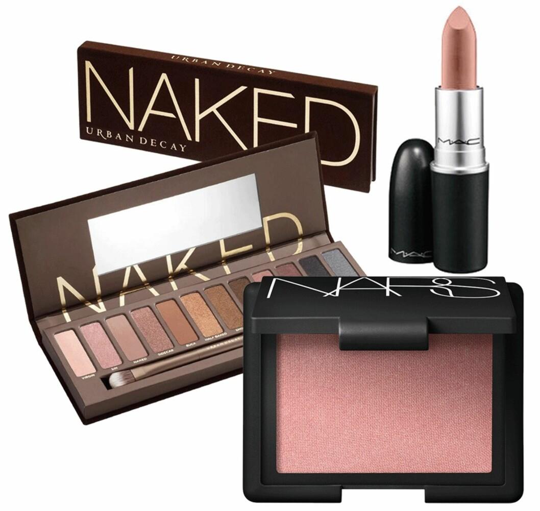 VERDENS MEST POPULÆRE PRODUKTER: MAC Cosmetics' nude leppestift troner på toppen over de mest populære skjønnhetsproduktene i verden. Like etter følger NARS' blush og Urban Decays øyeskyggepalett. Foto: Produsenten