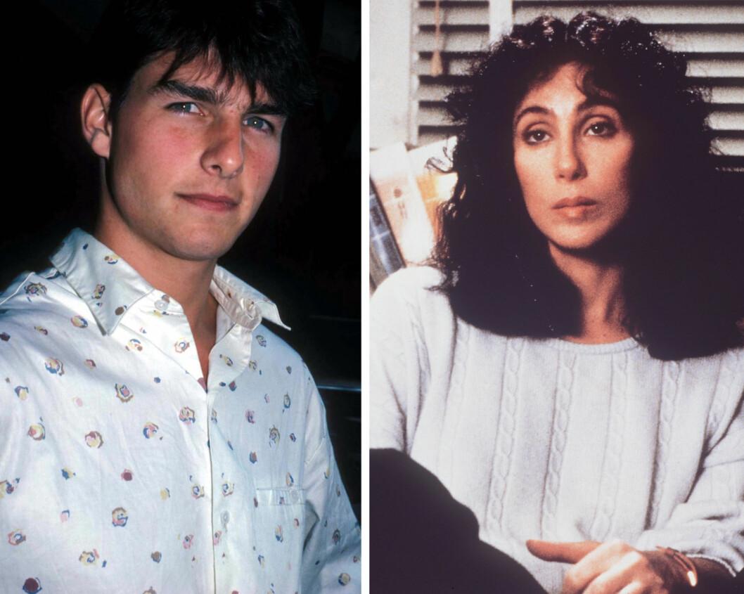 ANNO 1987: Cher skal ha sagt om forholdet med den 16 år yngre skuespilleren Tom Cruise at han var sjenert og at hun var svært betatt av ham. Foto: NTB Scanpix