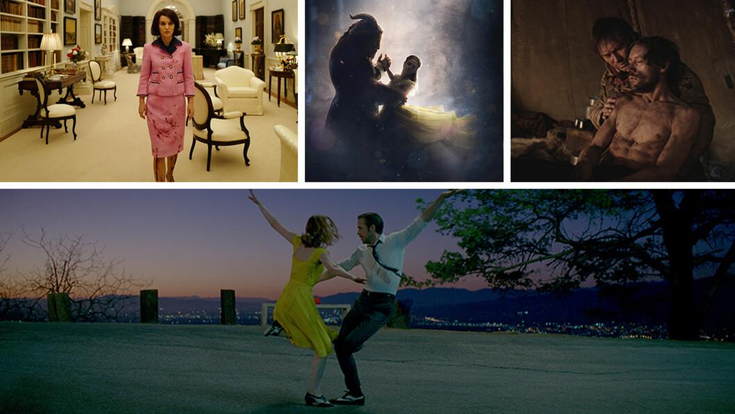 KINOFILMER 2017: «Jackie», «La La Land», «Beauty and the Beast» og «Den 12. mann» er noen av de filmene vi gleder oss til å se på kino i 2017! Foto: Filmweb
