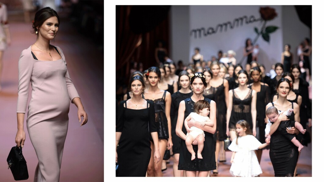 DOLCE & GABBANA: Det italienske merket hedret mødre da de viste sin høstkolleksjon for 2016. Her med Bianca Balti (t.v.) som er seks måneder på vei på det tidspunktet. Foto: Scanpix