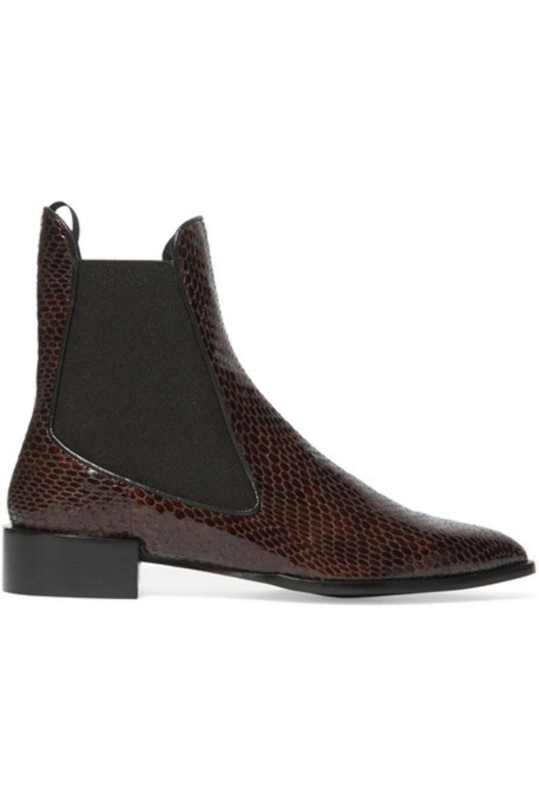 Boots fra Topshop Unique via Net-a-porter.com | kr 2335 | https://www.net-a-porter.com/no/en/product/714918/topshop_unique/belvoir-snake-effect-leather-ankle-boots