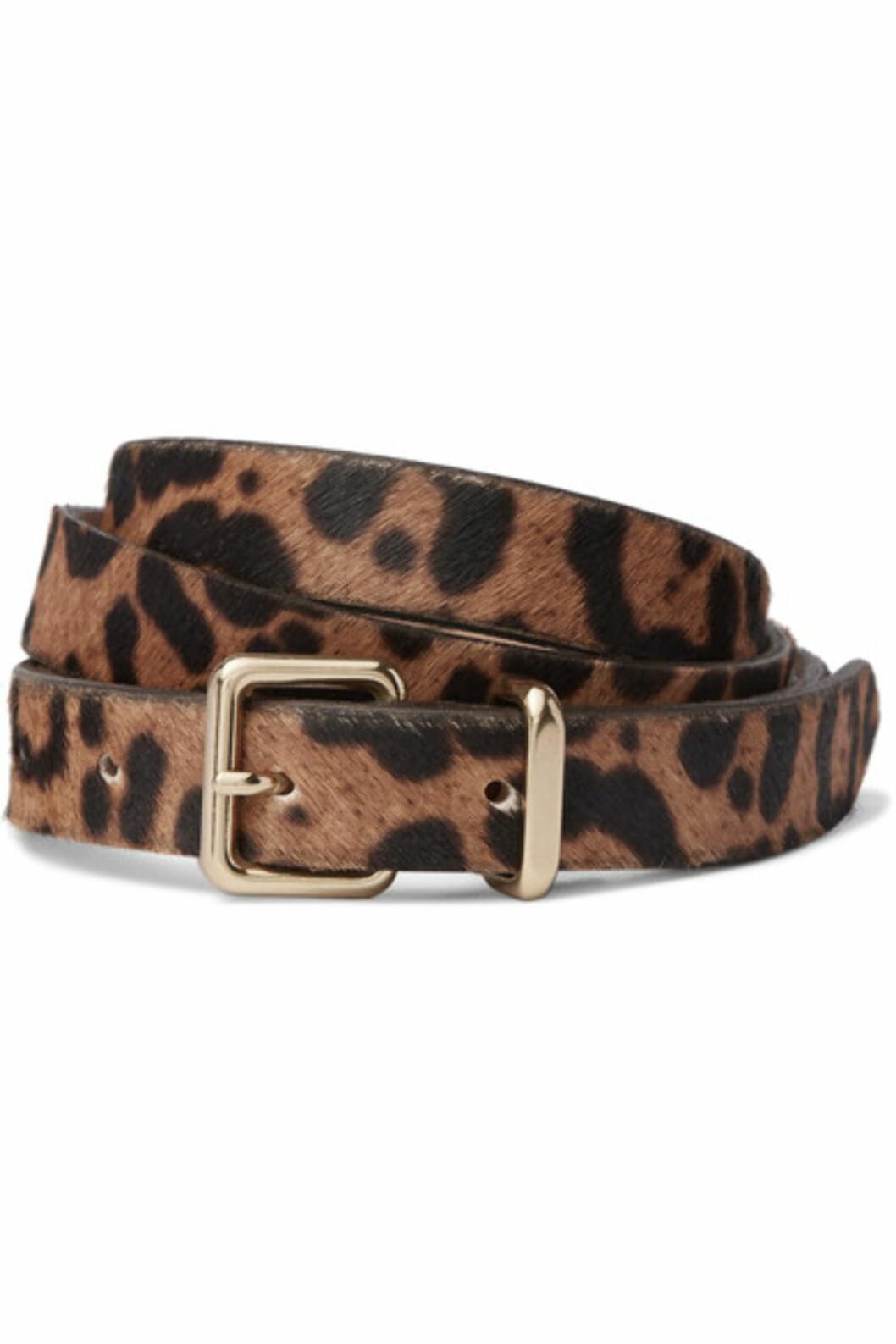 Belte fra J.Crew via Net-a-porter.com | kr 1018 | https://www.net-a-porter.com/no/en/product/784243/j_crew/leopard-print-calf-hair-belt