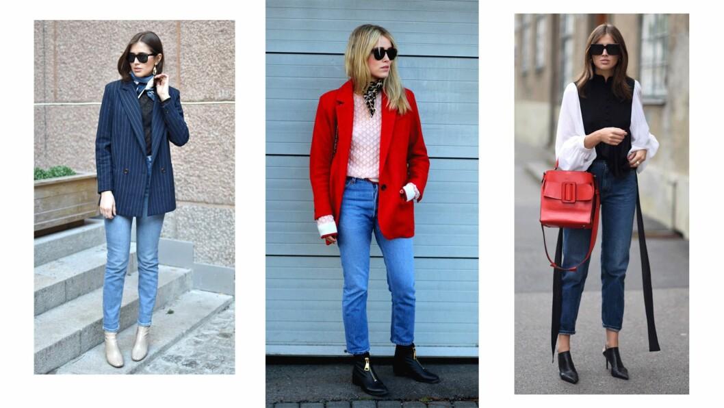 JEANS: La deg inspirere av bloggerne våre Darja og Annabel til å bruke jeans neste gang du skal på jobb. Foto: Darjabarannik.com, Annabelrosendahl.com