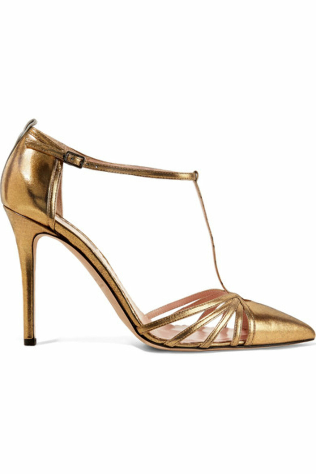 Hæler fra SJP by Sarah Jessica Parker via Net-a-porter.com | kr 2941 | https://www.net-a-porter.com/no/en/product/800983/sjp_by_sarah_jessica_parker/carrie-metallic-leather-pumps