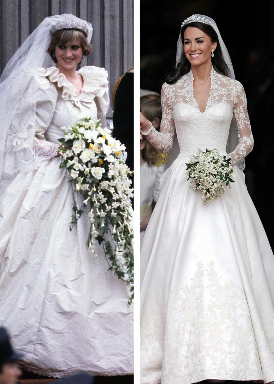 BRUDEKJOLEN: Selv om Dianas var litt mer puffet enn Kates, kan man se likhetene mellom de to kjolene. Foto: Scanpix