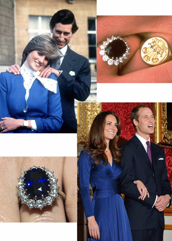 FORLOVET: Diana og Charles forlovet seg i 1981, Kate og William i 2010. Begge hadde på seg blått, og begge har samme forlovelsesring. Foto: Scanpix